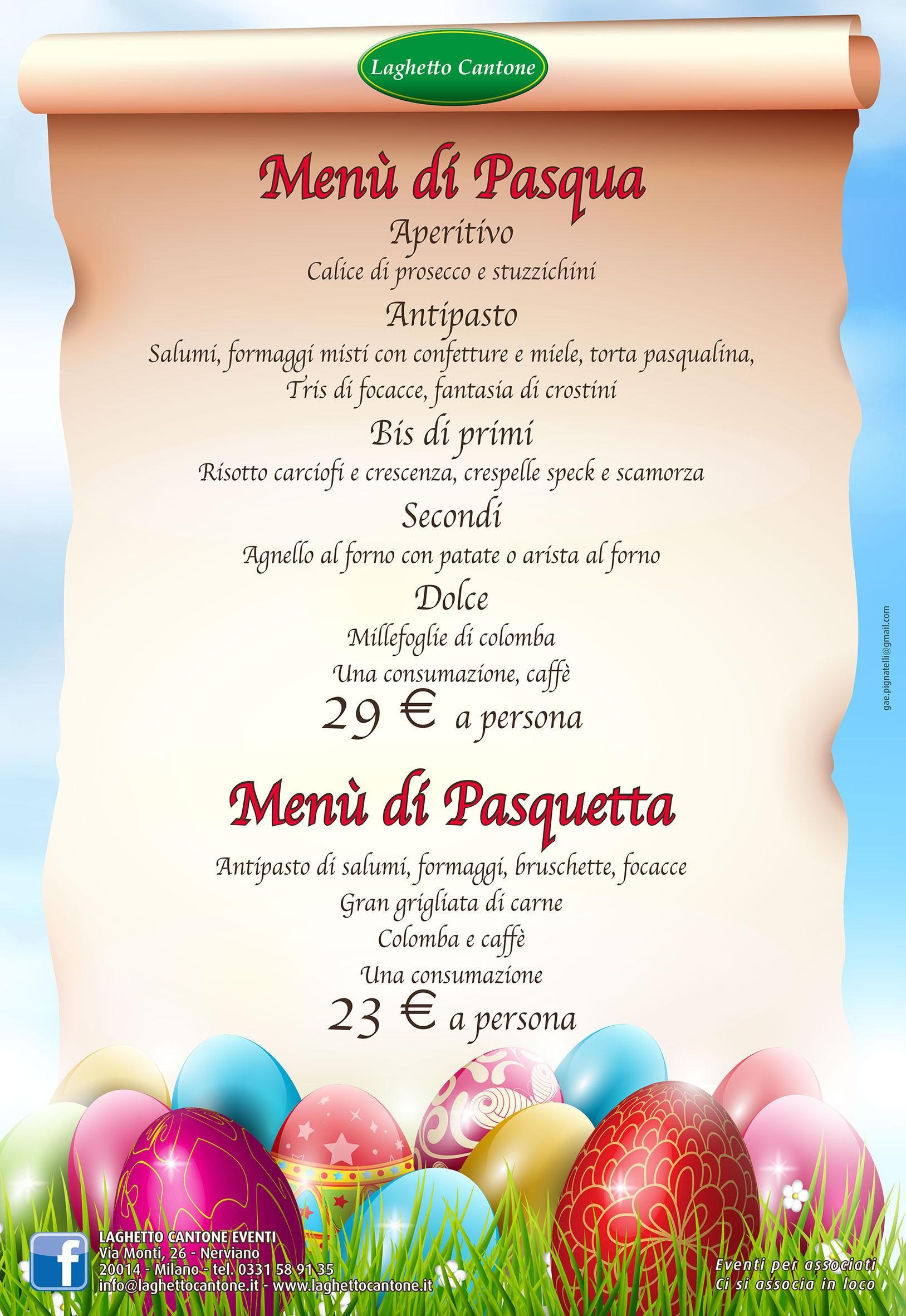 Laghetto Cantone Menu di Pasqua